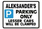ALEKSANDER'S Personalised Gift |Unique Present for Him | Parking Sign - Size Large - Metal faced